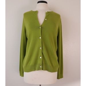 Vintage Lands End Neon Green Button Up Cardigan